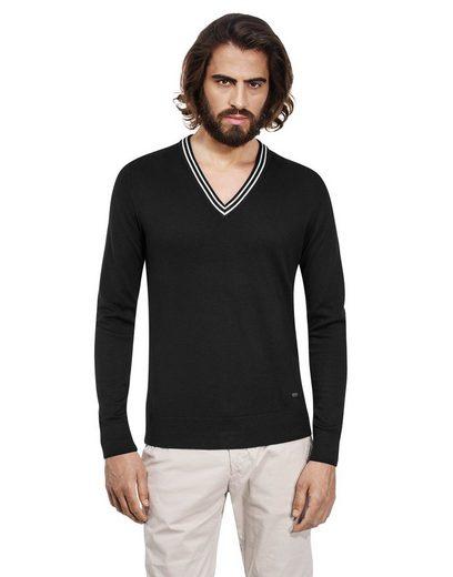 Vincenzo Boretti Slim Fit-Pullover mit Kontrastkragen
