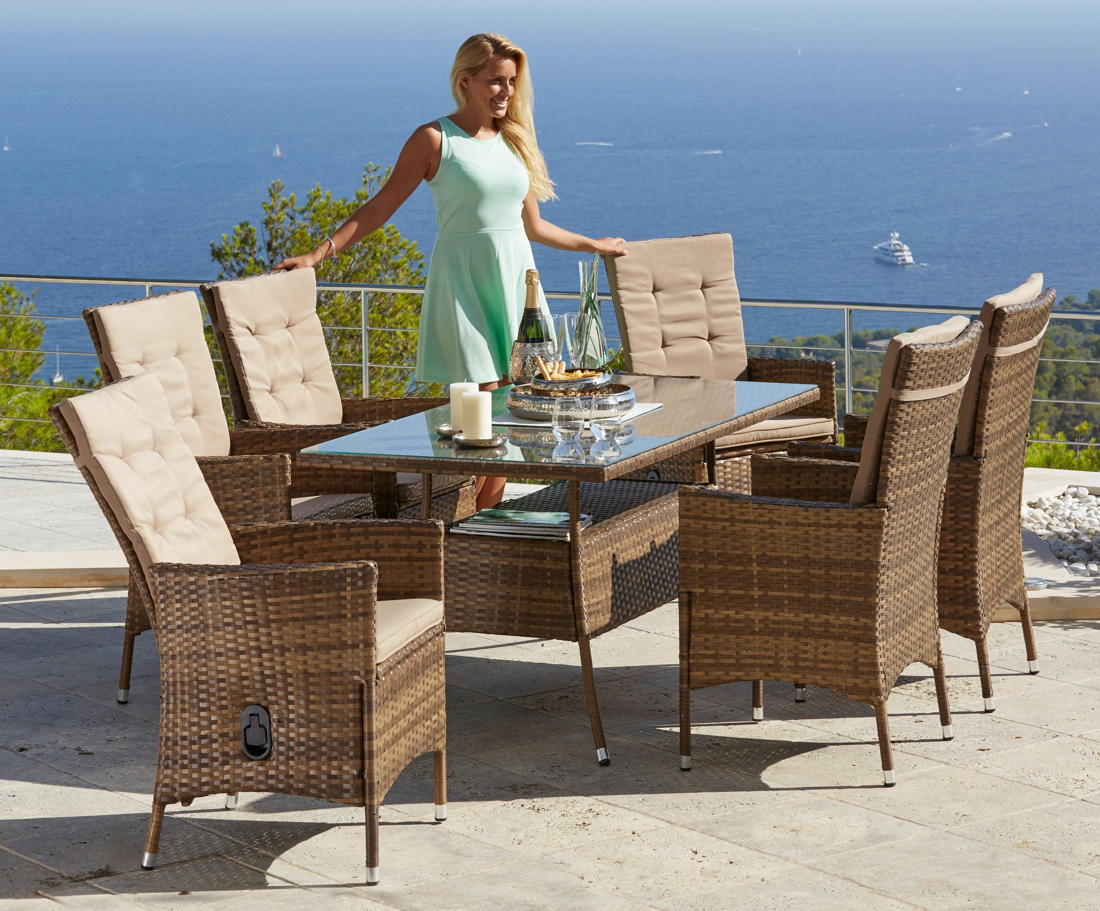 Gartenmöbelset »Santiago Deluxe«, 13-tlg., 6 Sessel, Tisch 80x150 cm, Polyrattan, hellbraun