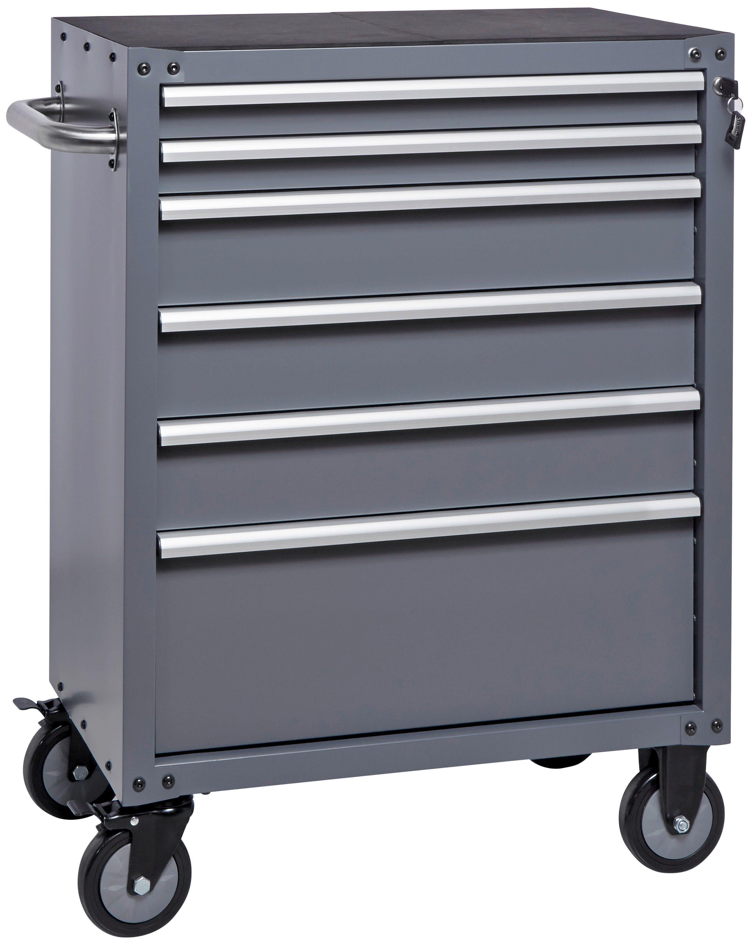 Unbefüllter Werkstattwagen »Wisconsin«, abschließbar, 6 Schubladen, zur Selbstmontage
