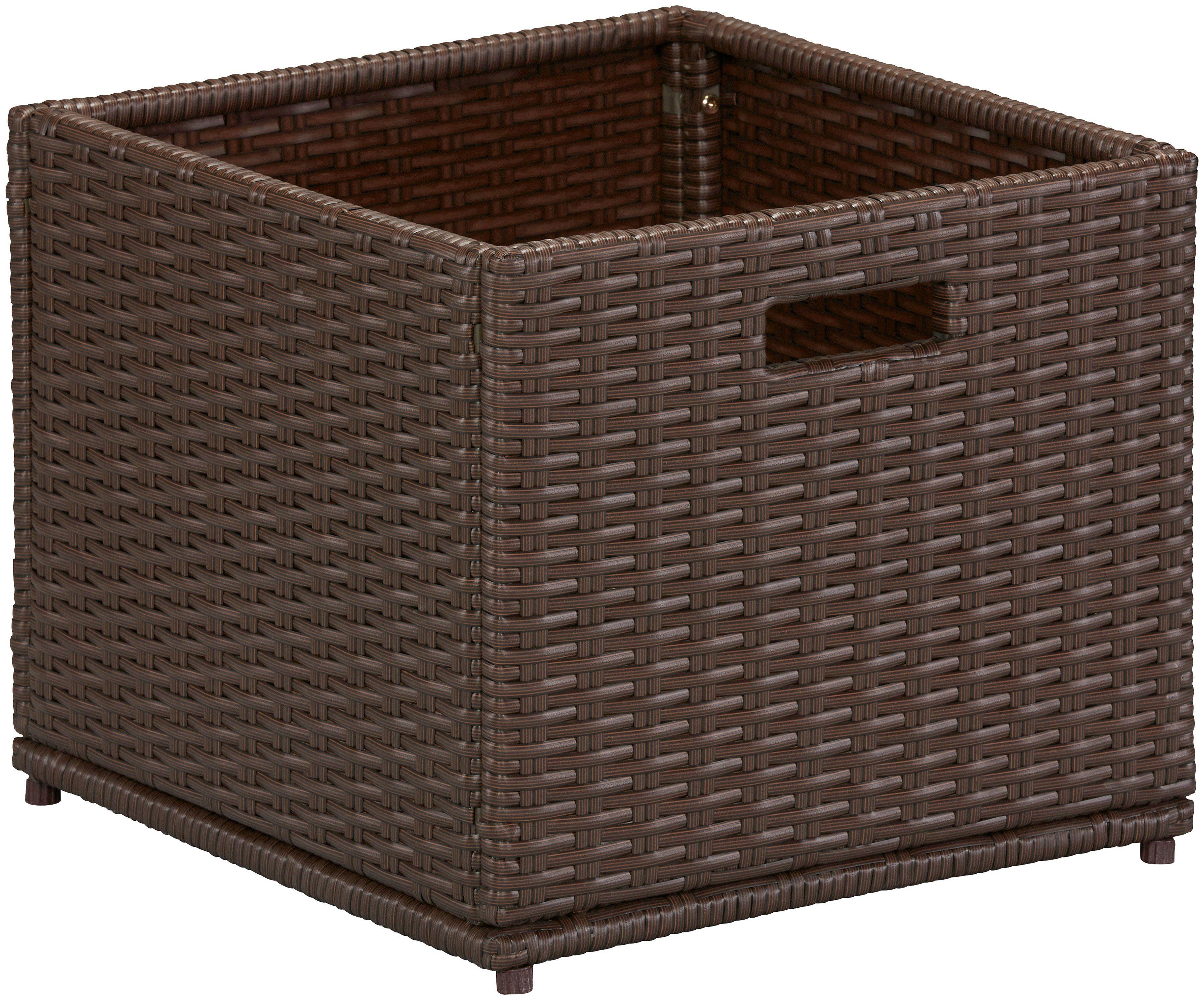 Auflagenbox , 46x39x49 cm, Polyrattan, braun