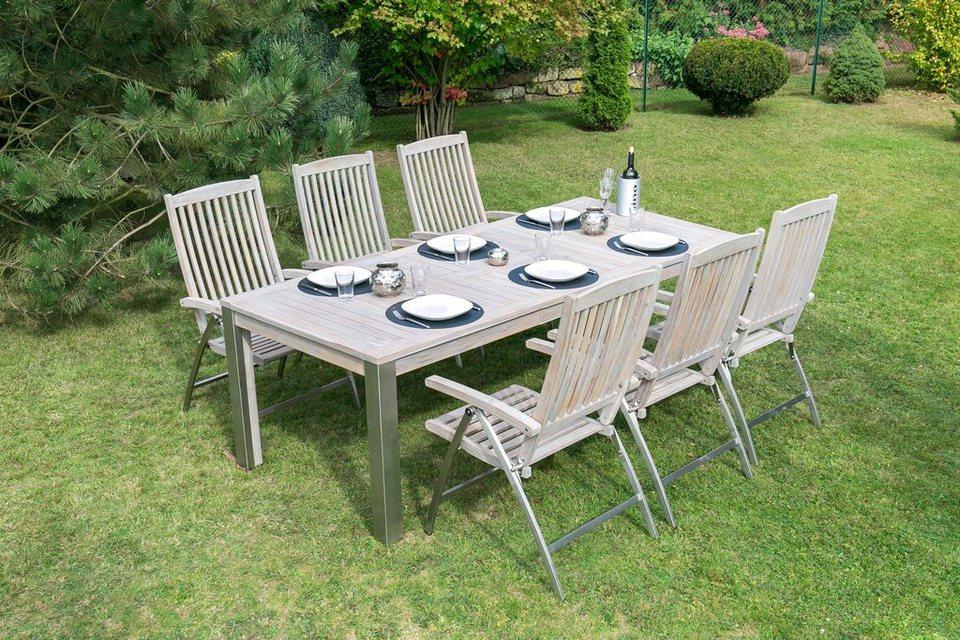 Bellasole Gartenmöbelset Norderney 7 Tlg 6 Sessel Tisch