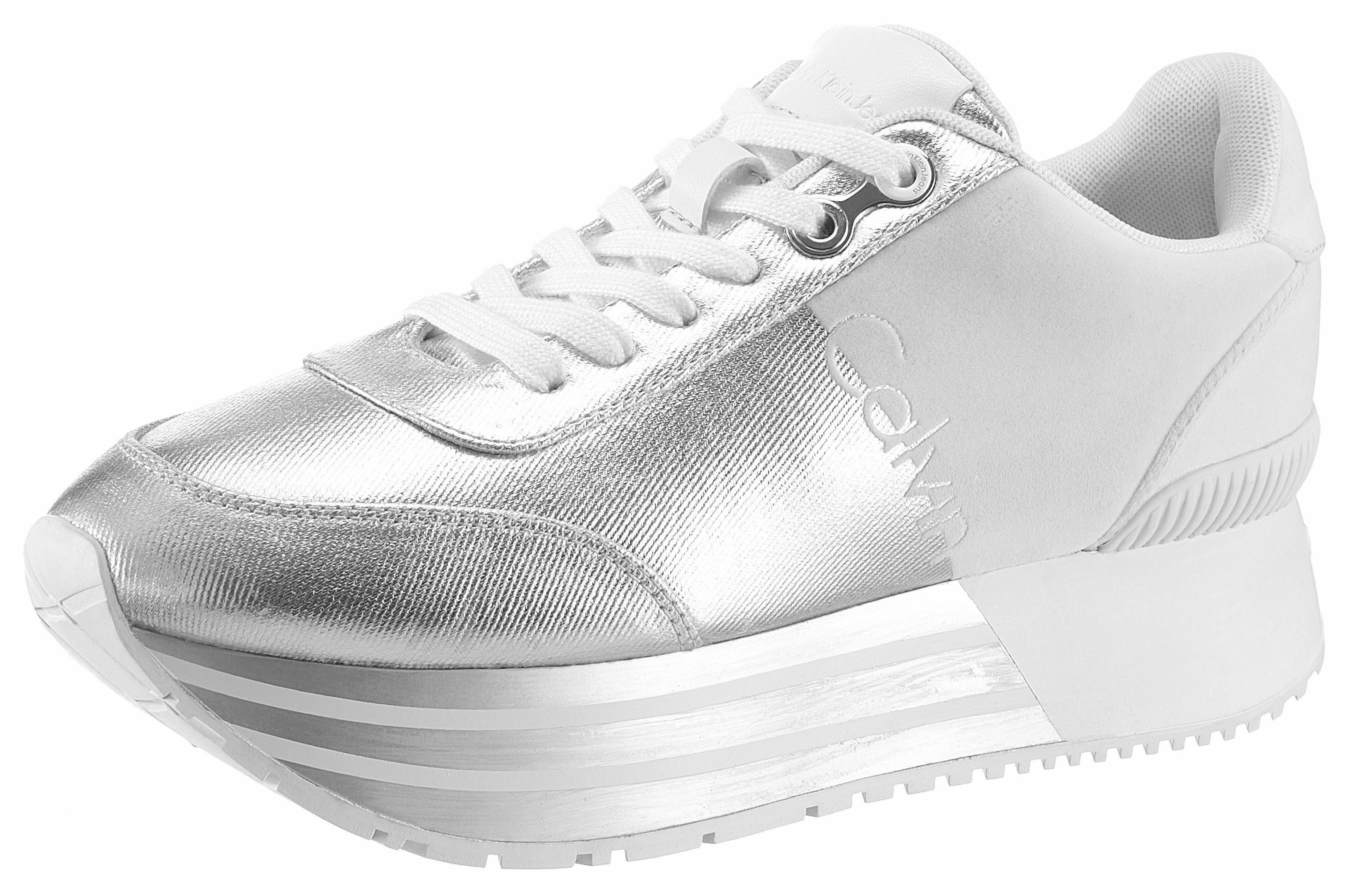 Calvin Klein Plateausneaker, mit auffälliger Plateausohle online kaufen  silberfarben-weiß