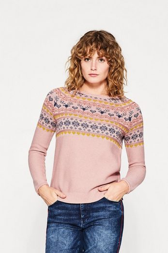 EDC BY ESPRIT Jacquard-Pullover aus Baumwoll-Mix