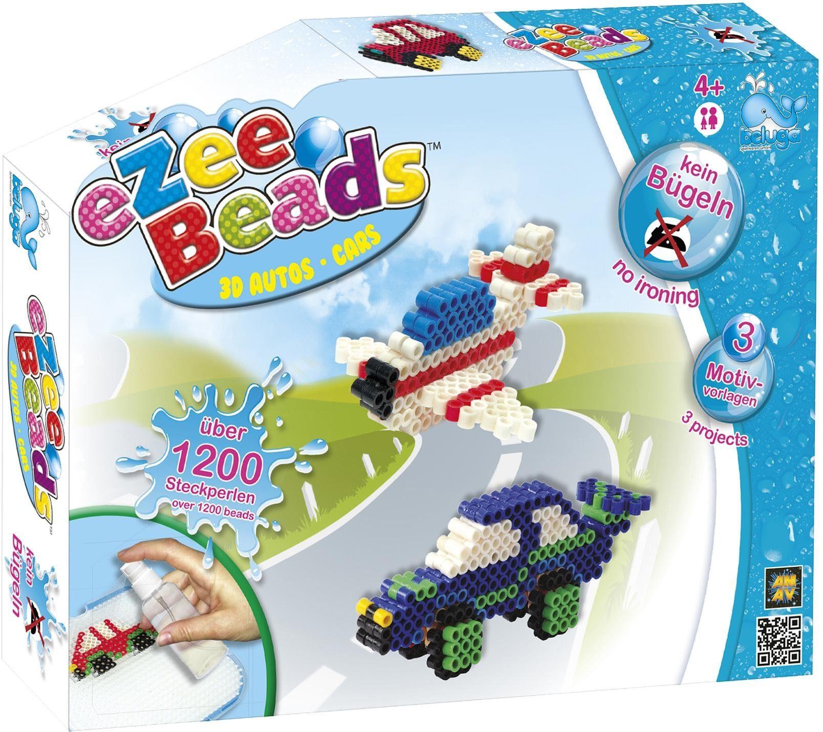 Beluga Steckperlen Set, »eZee Beads 3D Fahrzeuge 1200 Stück«