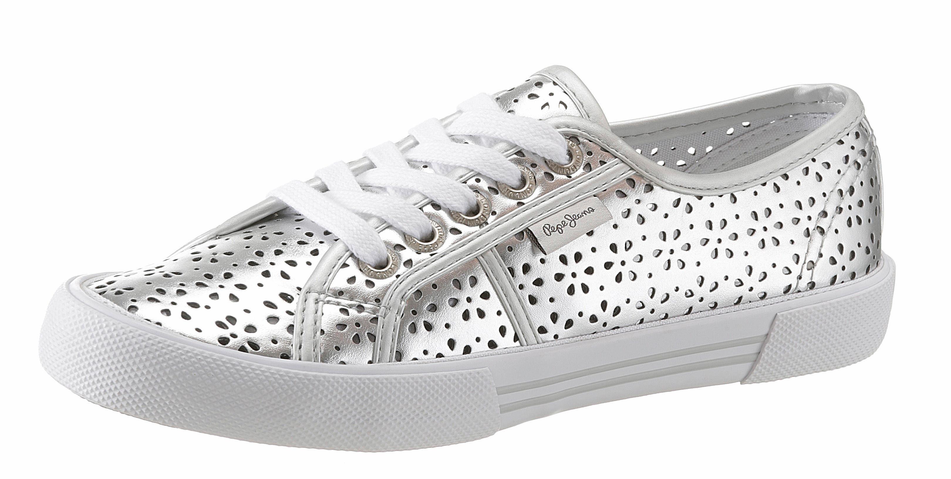 Pepe Jeans ABERLADY DAISY Sneaker, mit sommerlichem Lasercut online kaufen  silberfarben