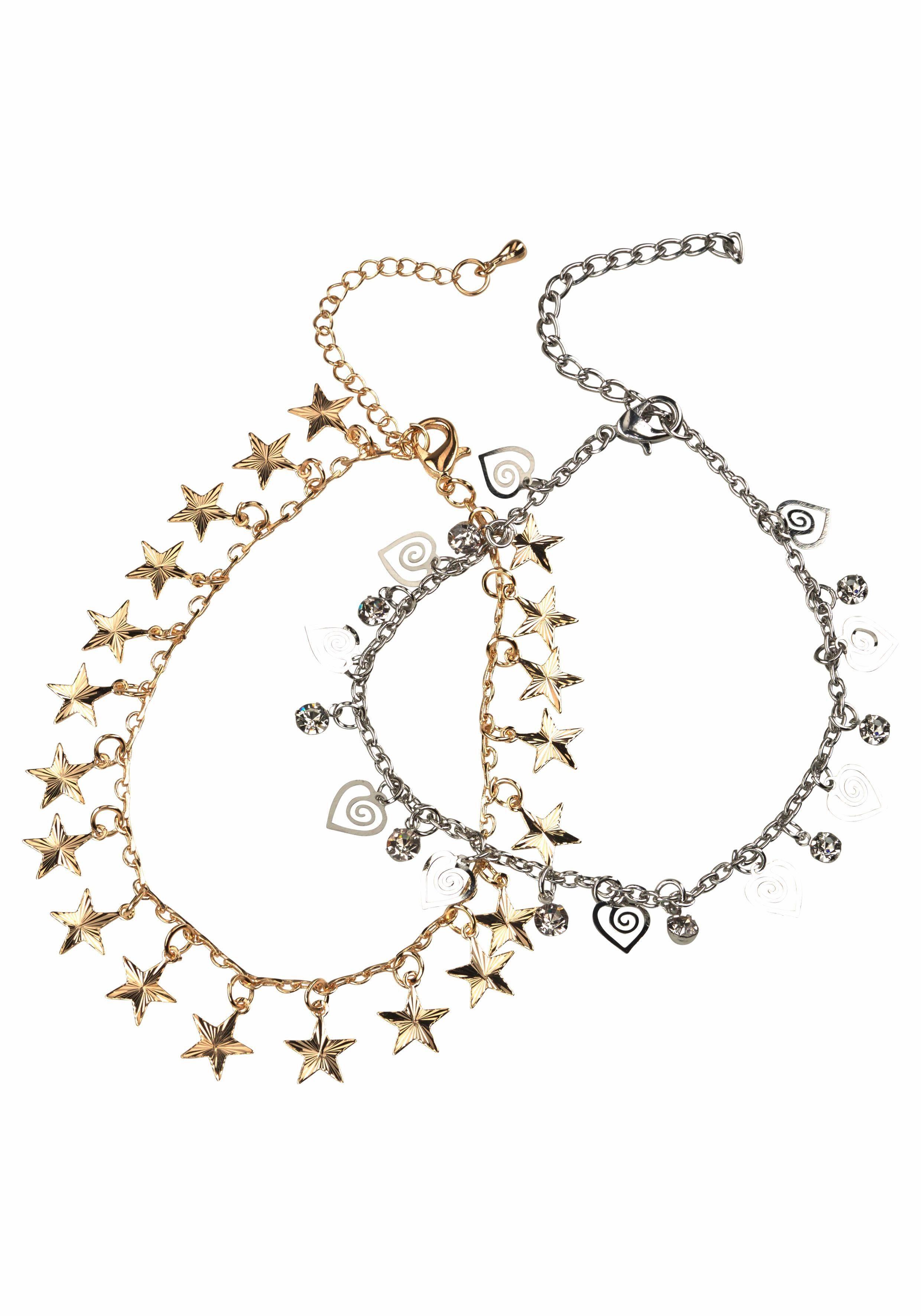 J.Jayz Fußketten Set mit Sternen, Herzen und Glitzersteinen