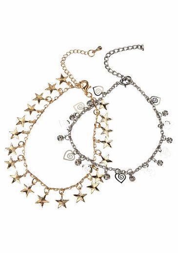 J.Jayz Fußketten Set »mit Sternen und Herzen« (Set, 2 tlg) mit Glassteinen