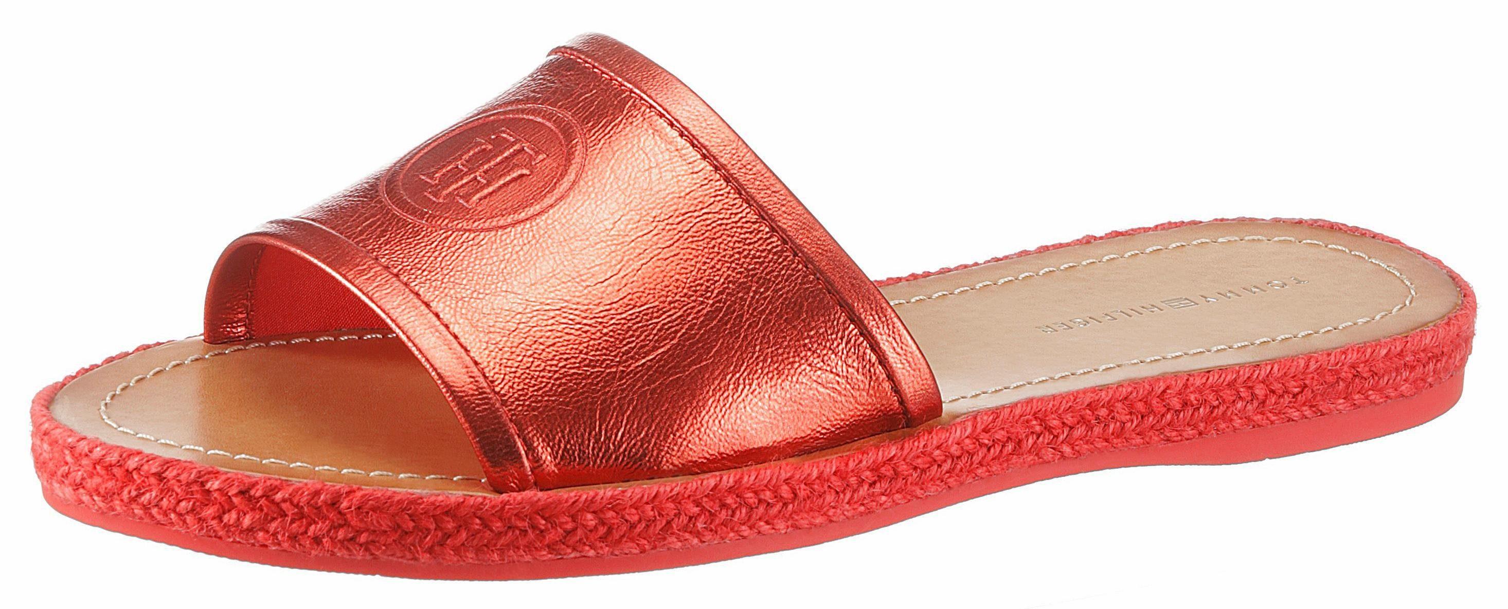 Tommy Hilfiger »Joyce« Pantolette, mit Metallic Effekt, rot, EURO-Größen, rostrot