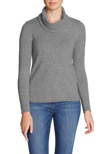 Damen Eddie Bauer Longpullover Pullover mit Wasserfallausschnitt grau | 04057682115542