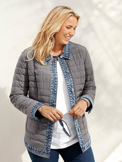MIAMODA Steppjacke in 2-in-1 Optik mit Denim