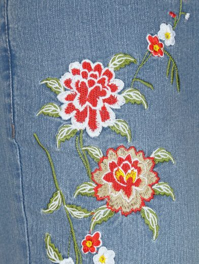Miamoda Jeans With Floral Embroidery