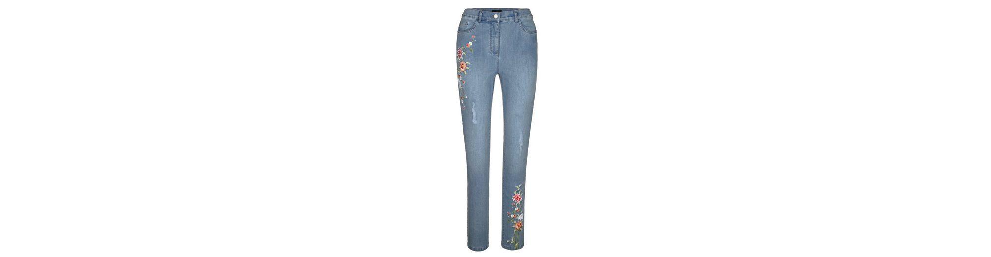 Erstaunlicher Preis Verkauf Online Verkauf 100% Original MIAMODA Jeans mit Blumenstickereien Große Überraschung Günstiger Preis 5ZARQdK