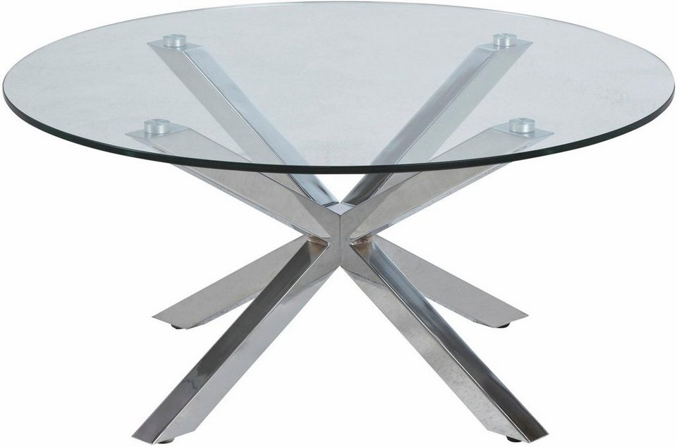 Couchtisch Chrom Glas ~ Andas couchtisch »hanna« mit glastischplatte aus klarem glas und