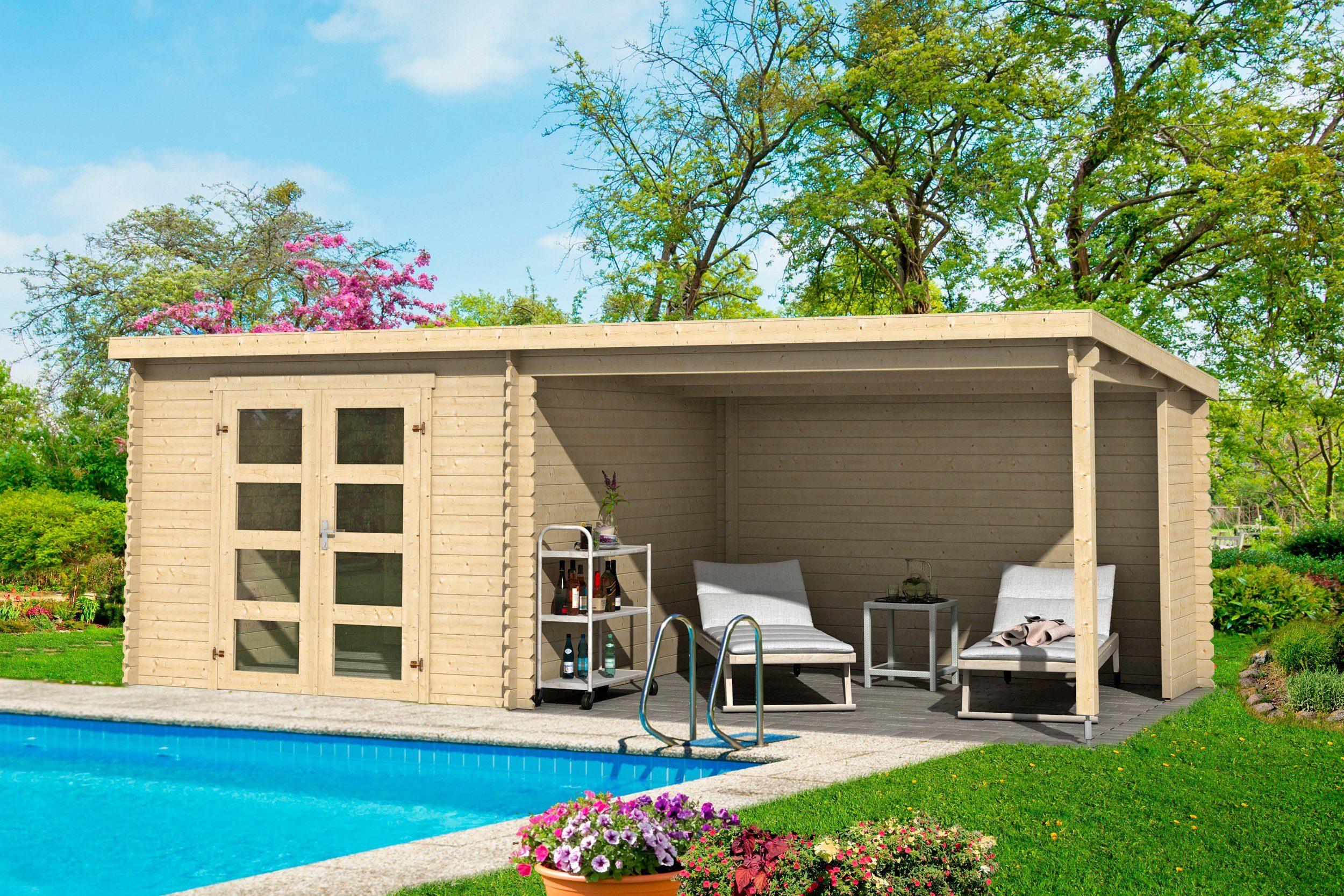 OUTDOOR LIFE PRODUCTS Gartenhaus »Novia 275«, BxT: 620x309 cm, inkl. Anbaudach mit Rückwand