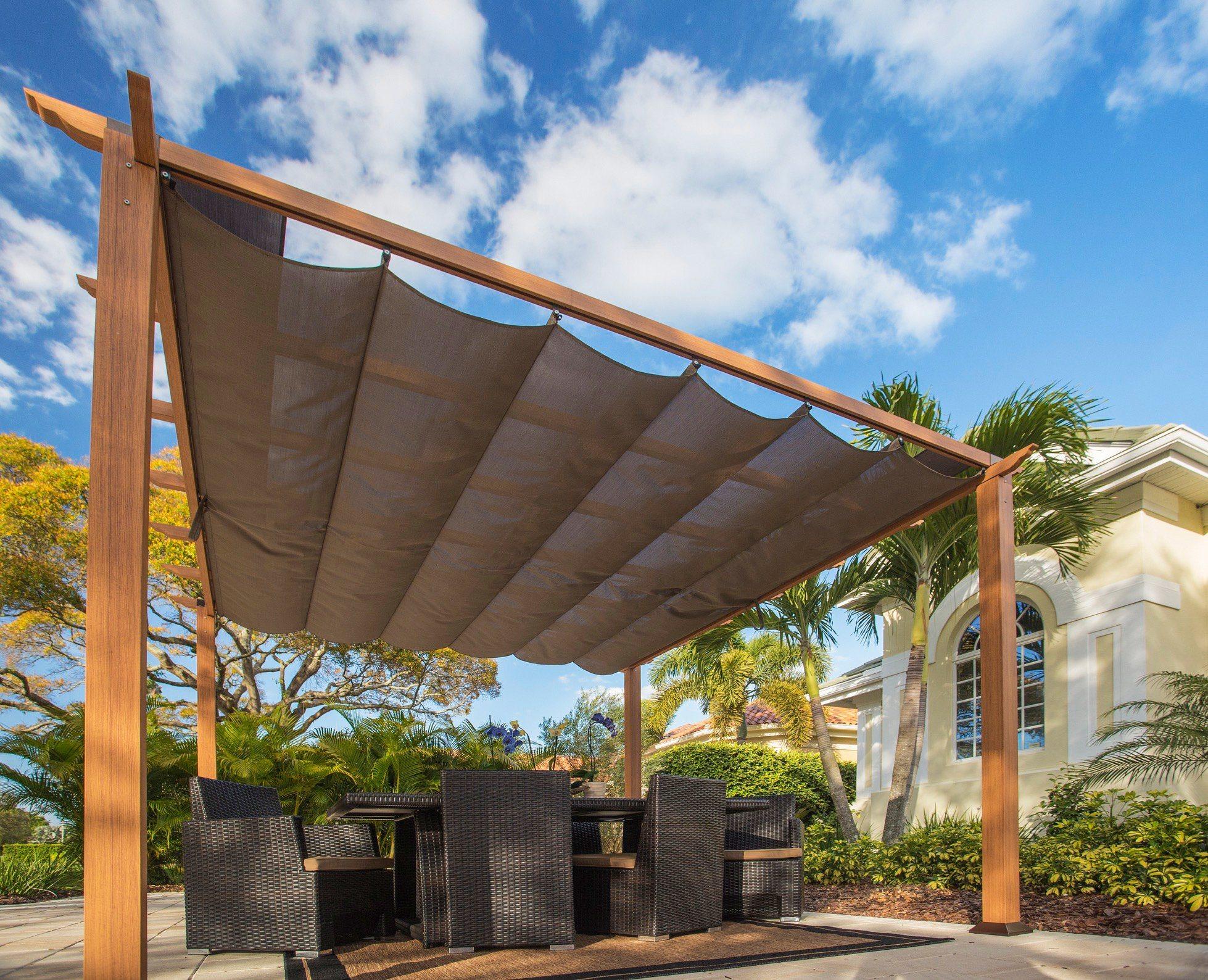 CLEMENS HOBBY TEC Pergola »Florida 11x11«, BxL: 350 x 350 cm, inkl. Sonnensegel | Garten > Sonnenschirme und Markisen > Sonnensegel | Polyester | CLEMENS HOBBY TEC