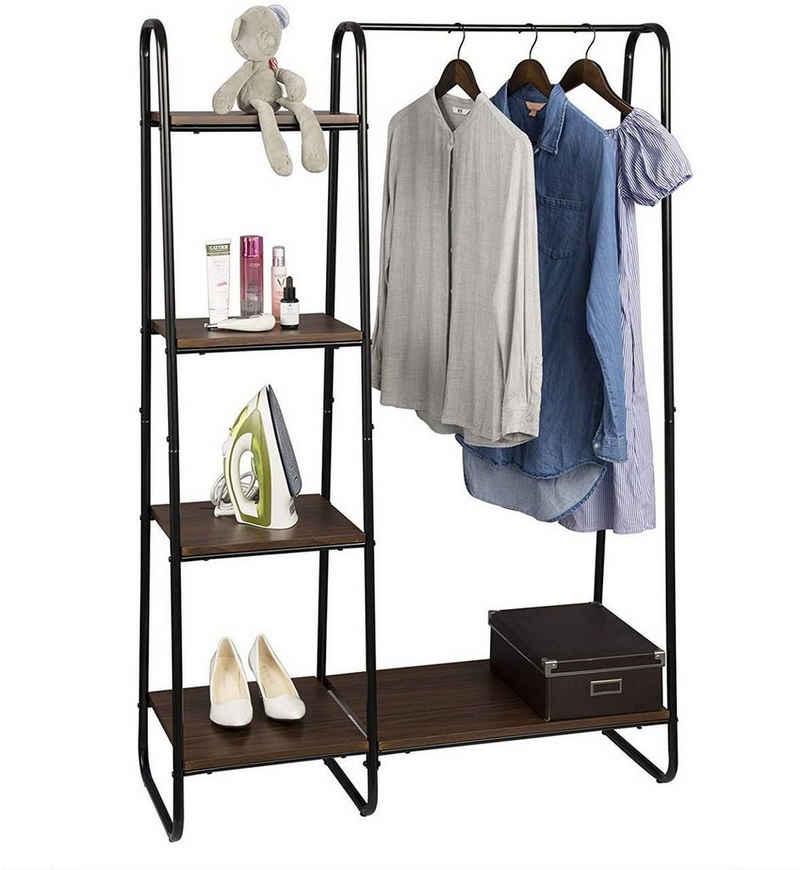 Woltu Kleiderständer »SR0080«, (1 St), mit Ablagen, Kleiderstange Garderobe Ständer Hängeregal Metall und Holz ca.102x40x150 cm