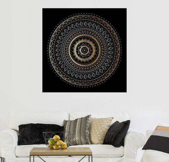 Posterlounge Wandbild »Mandala Gold/Silber«
