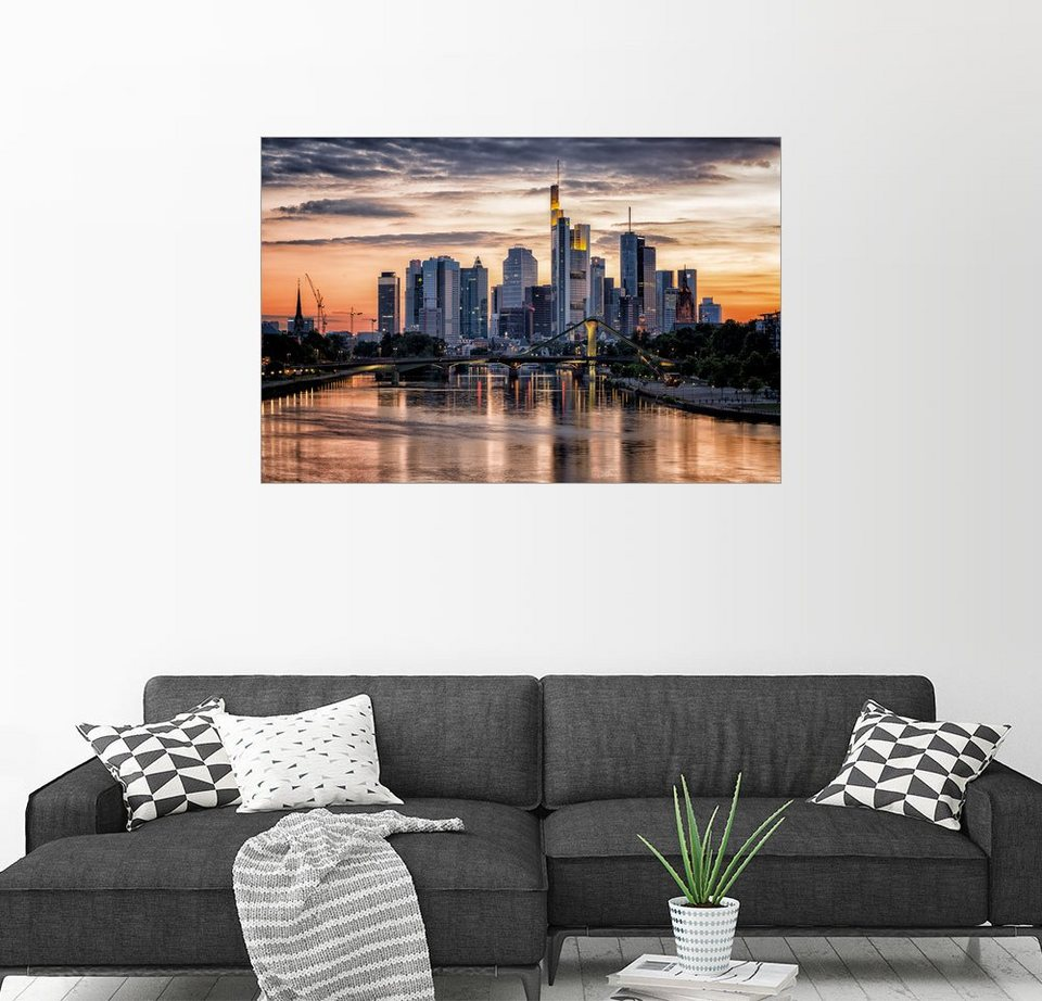 posterlounge wandbild frankfurt am main sehenswert frankfurt am main sunset skyline online. Black Bedroom Furniture Sets. Home Design Ideas