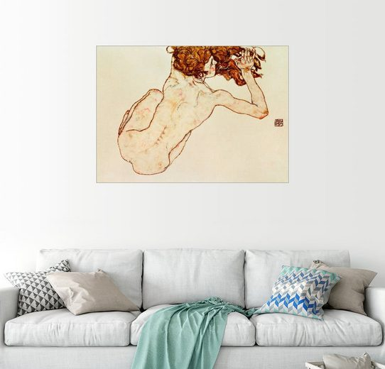 Posterlounge Wandbild - Egon Schiele »Kauernder Rückenakt«