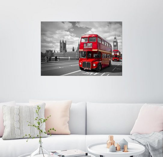 Posterlounge Wandbild - Melanie Viola »Westminster Bridge and Red Buses«
