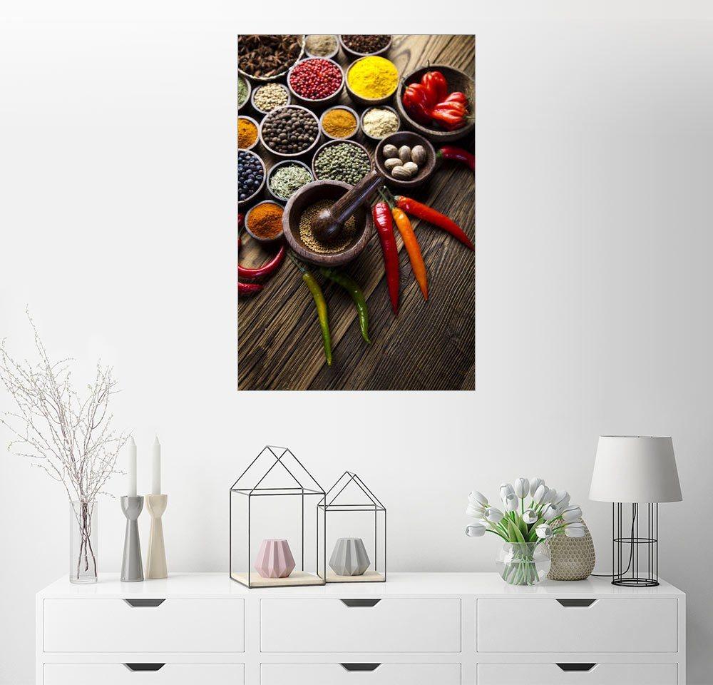 Posterlounge Wandbild »Gesunde Gewürzküche« | Dekoration > Bilder und Rahmen > Bilder | Holz | Posterlounge
