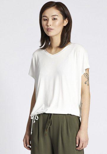 khujo T-Shirt CARELTA, mit seitlicher Schnürung am Saum