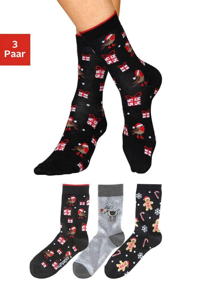 Sympatico Socken (3-Paar) mit lustigen Weihnachtsmotiven