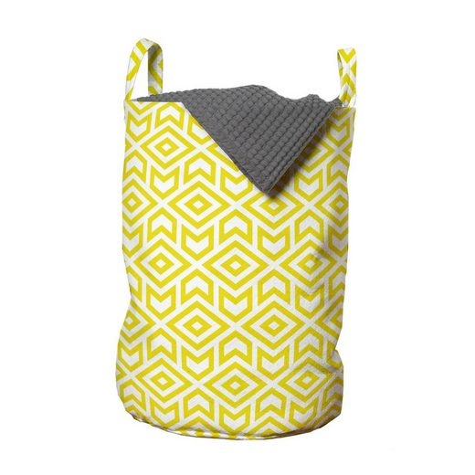 Abakuhaus Wäschesack »Wäschekorb mit Griffen Kordelzugverschluss für Waschsalons«, Gelb und Weiß Rauten Arrows