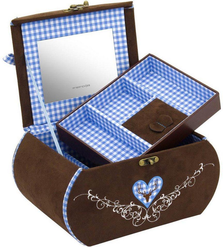 Friedrich23 Schmuckkoffer »Bavaria, 23327-5«, mit dekorativer Stickerei   Schmuck > Schmuckaufbewahrungen   Blau   Friedrich23