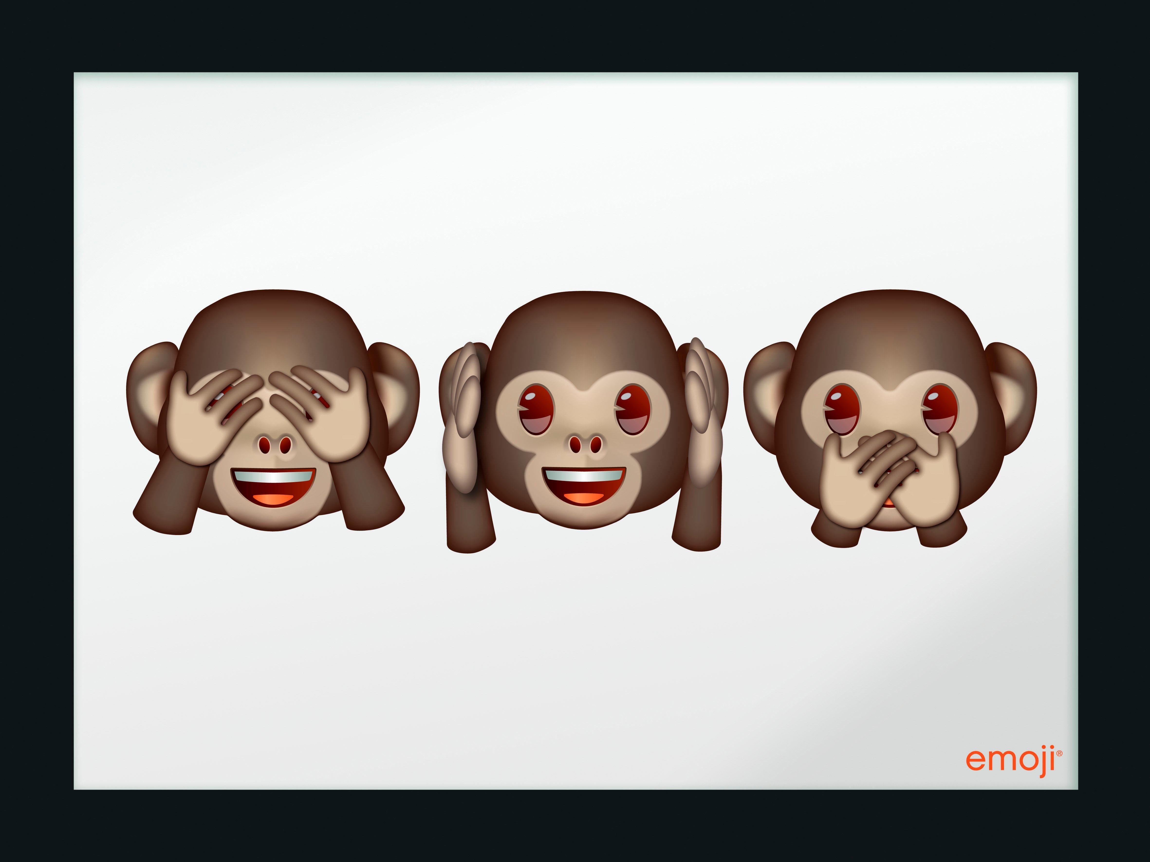 Spiegelbilder gerahmt »emoji - Three Monkeys« 40/30 cm