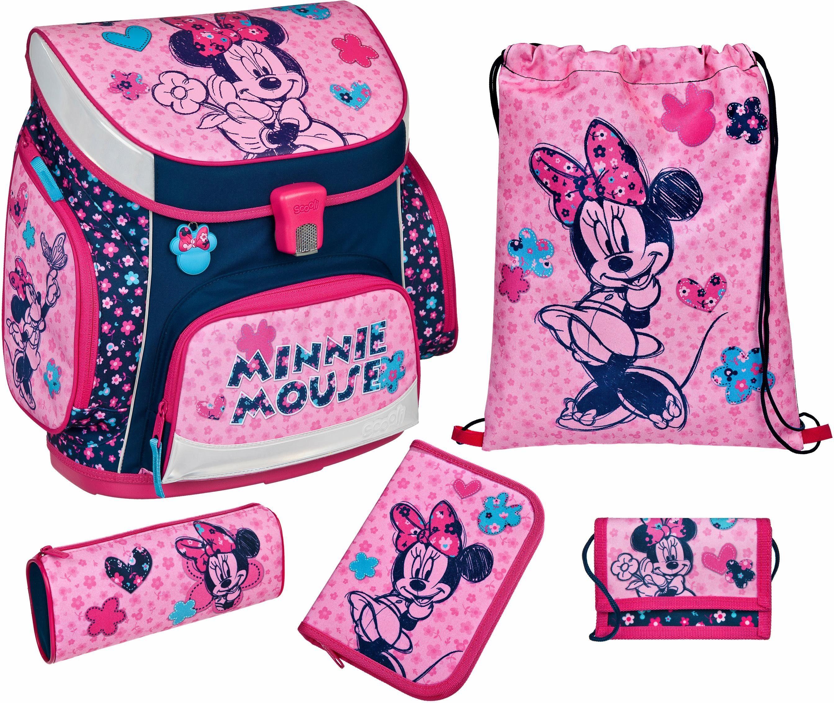Minnie Mouse Schulranzen Set 12tl Disney Federmappe Sporttasche Maus rosa