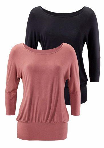 LASCANA Shirt (2 Stück) mit breitem Bund im Sparpack