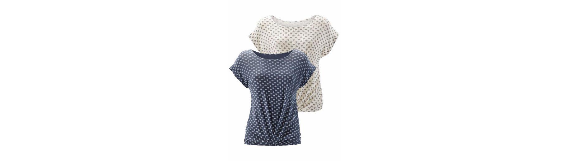 Günstige Kaufladen LASCANA Shirt (2 Stück) mit Faltendetail am Saum im 2er Sparpack Auslass-Websites Verkauf Nicekicks Verkauf Veröffentlichungstermine Genießen Sie Online bWYWg0
