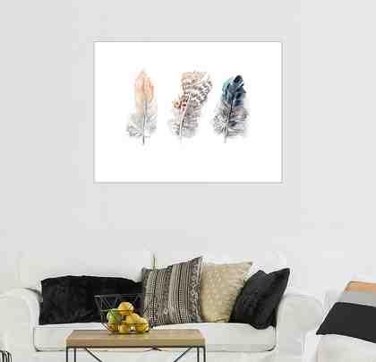 Posterlounge Wandbild - Verbrugge Watercolor »3 Federn«