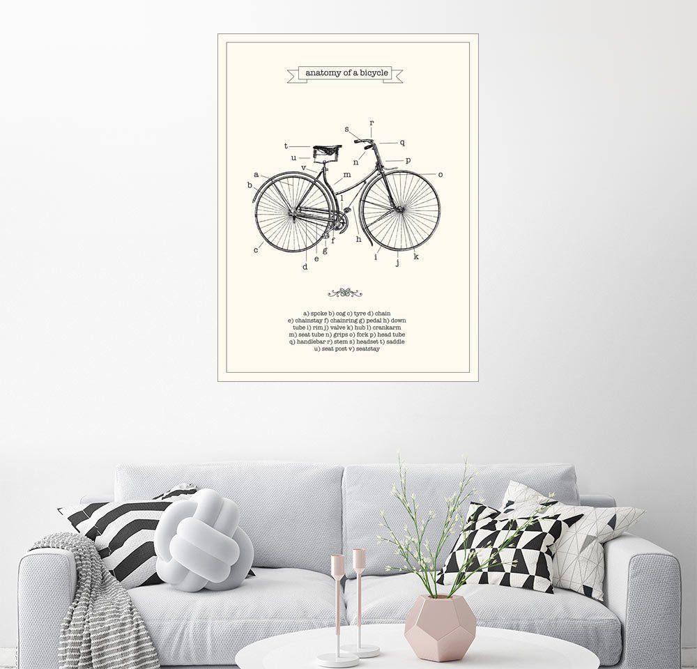 Posterlounge Wandbild - Nory Glory Prints »Die Anatomie des Fahrrads«