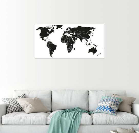 Posterlounge Wandbild »Weltkarte schwarz-weiß«