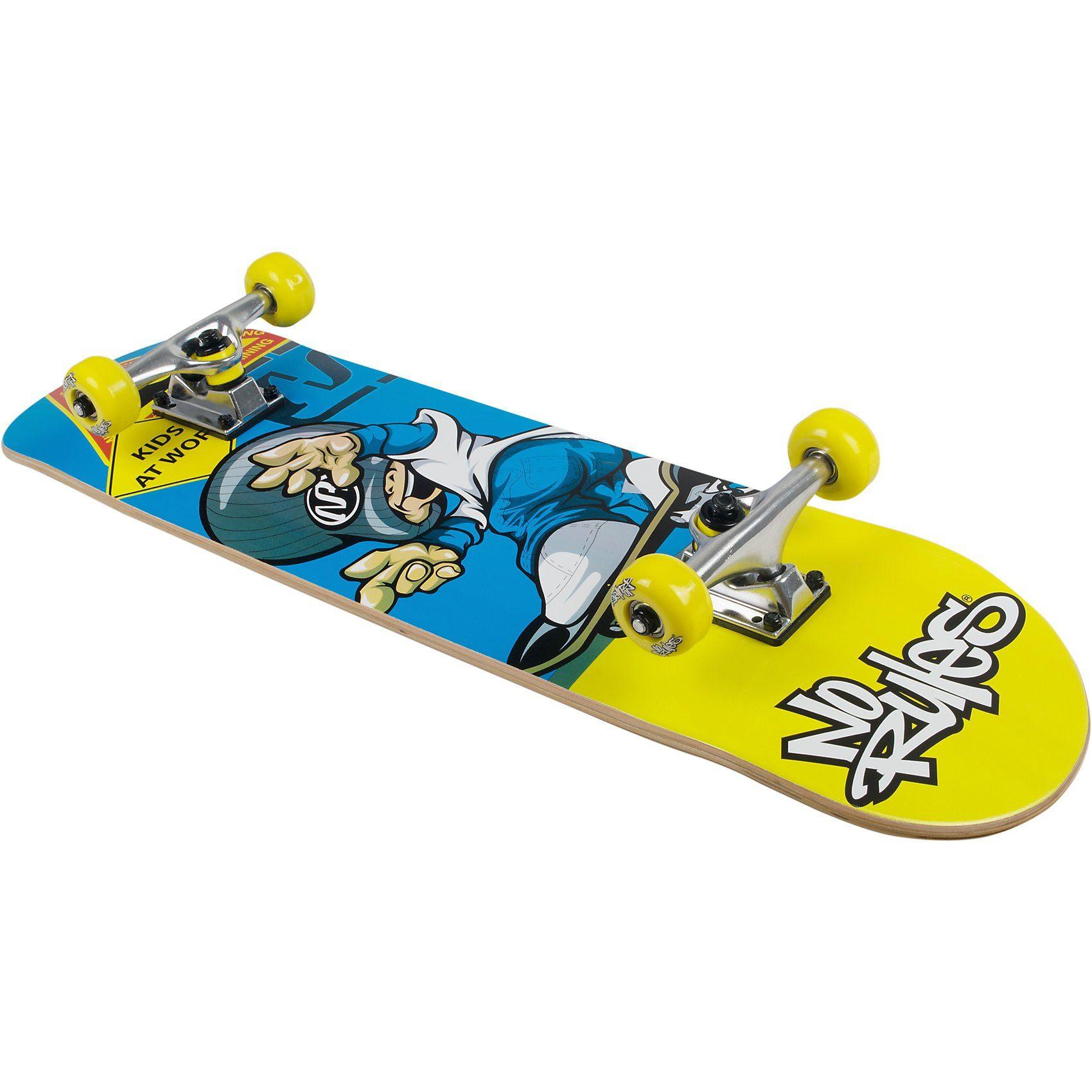 No Rules Skateboard Pro ABEC 1 Drempels, blau/gelb