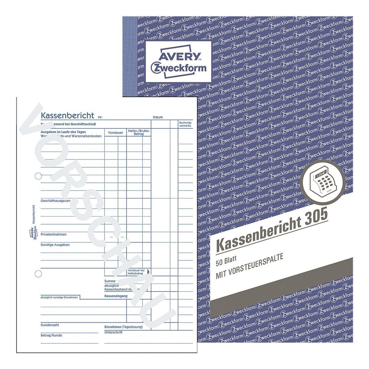 ZWECKFORMAVERY 5er-Pack Formularbuch »Kassenbericht 305«