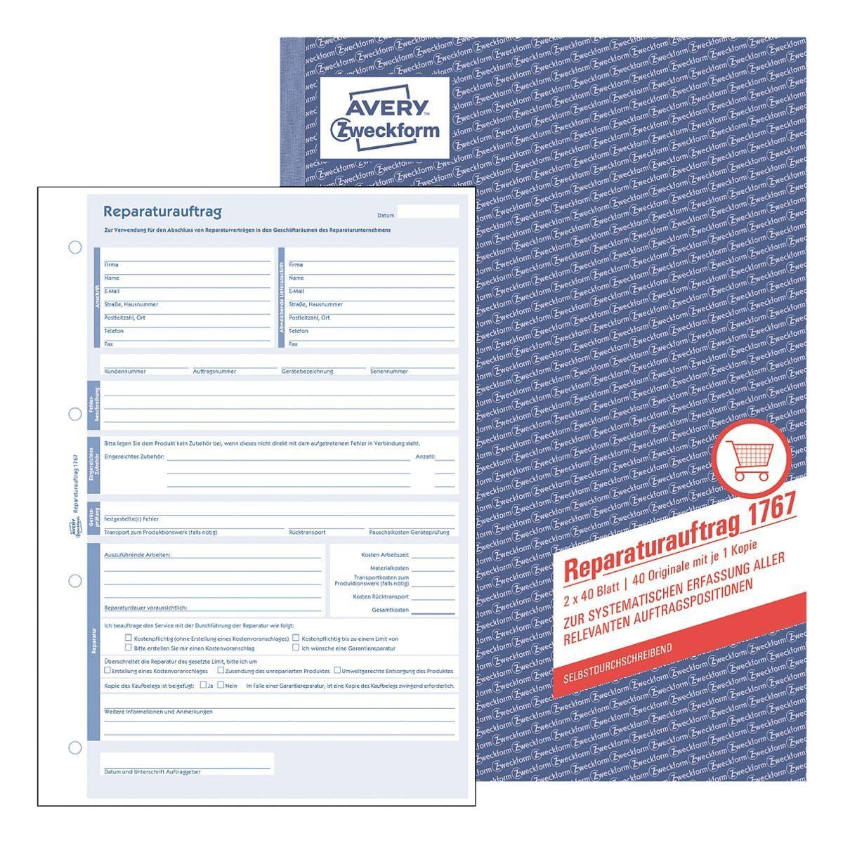 ZWECKFORMAVERY Formularbuch »Allgemeiner Reparaturauftrag«