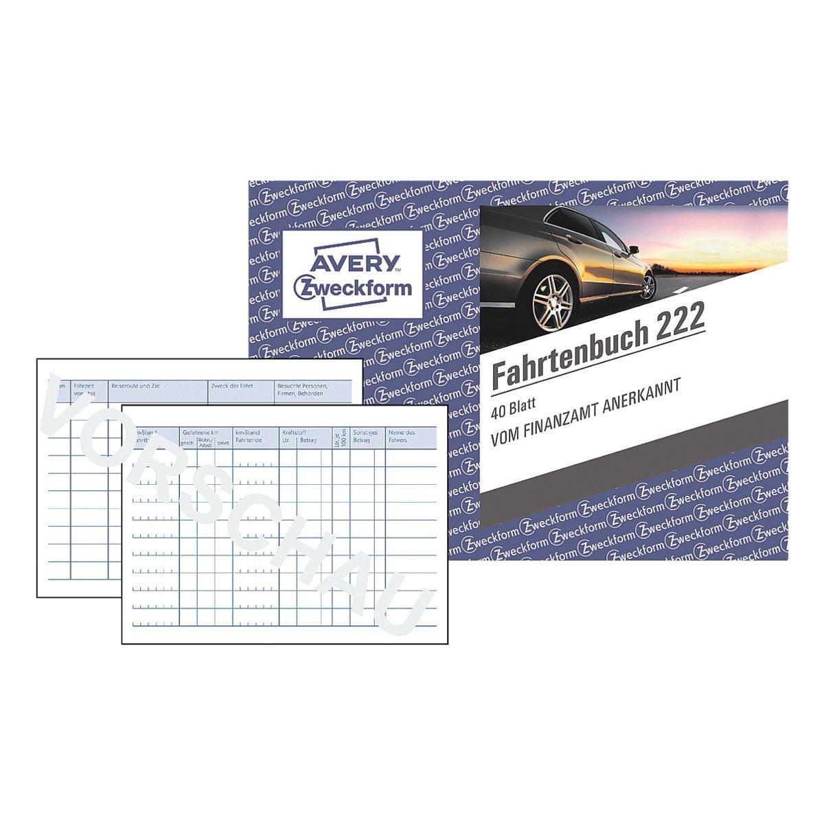 Avery Zweckform 5x Fahrtenbuch (A6 quer) »222«