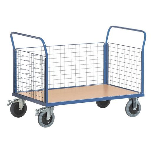 ROLLCART Gitter-Dreiwandwagen 120x78 cm Holz-Ladefläche