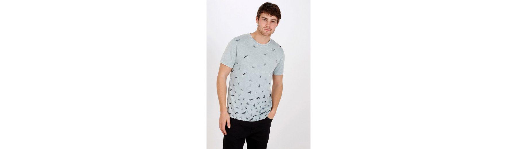 Next T-Shirt mit Vogelprint in Acid-Waschung