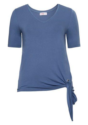 sheego Class T-Shirt, seitlich zu knoten
