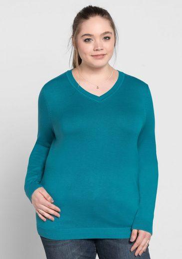 Sheego V-Ausschnitt-Pullover