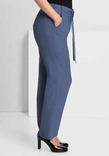 sheego Style Bundfaltenhose, mit Bindeband