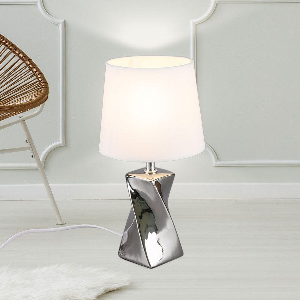 etc shop Tischleuchte, Schreib Tisch Lampe Ess Zimmer Keramik Textil  Nacht Licht Lese Beleuchtung weiß im Set inkl. LED Leuchtmittel online  kaufen   ...