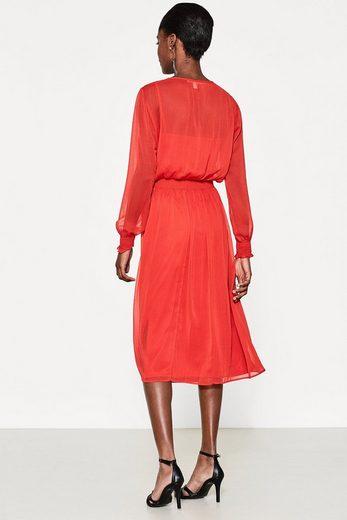 ESPRIT Midi-Kleid aus zartem Crinkle-Chiffon