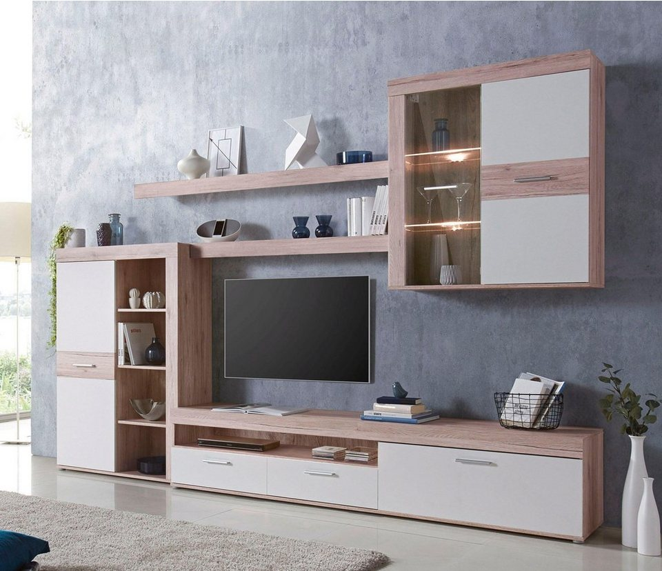 forte wohnwand moderne trendfarben online kaufen otto. Black Bedroom Furniture Sets. Home Design Ideas