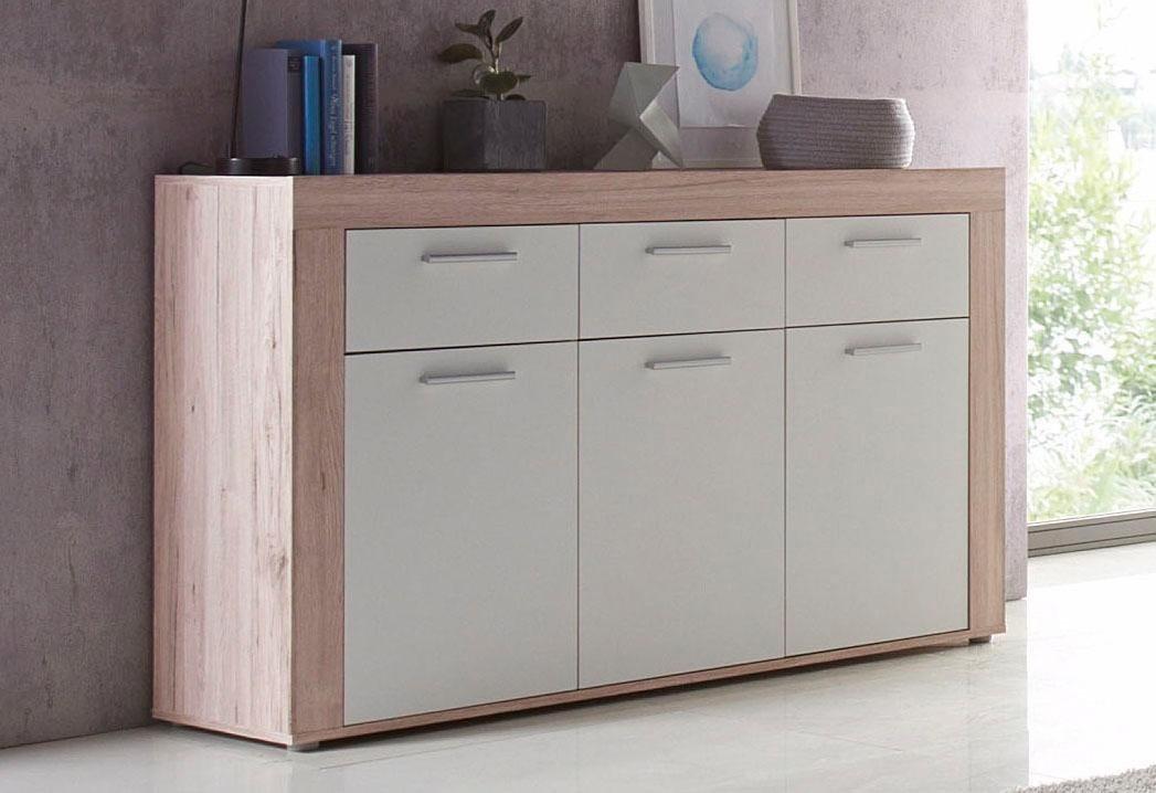 FORTE  Sideboard Breite 136 cm mit 3 Schubkästen weiß   05904767857233