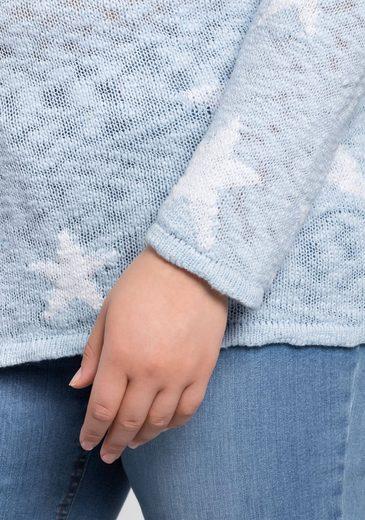 sheego Casual V-Ausschnitt-Pullover, Strukturierte, leicht transparente Strickqualität